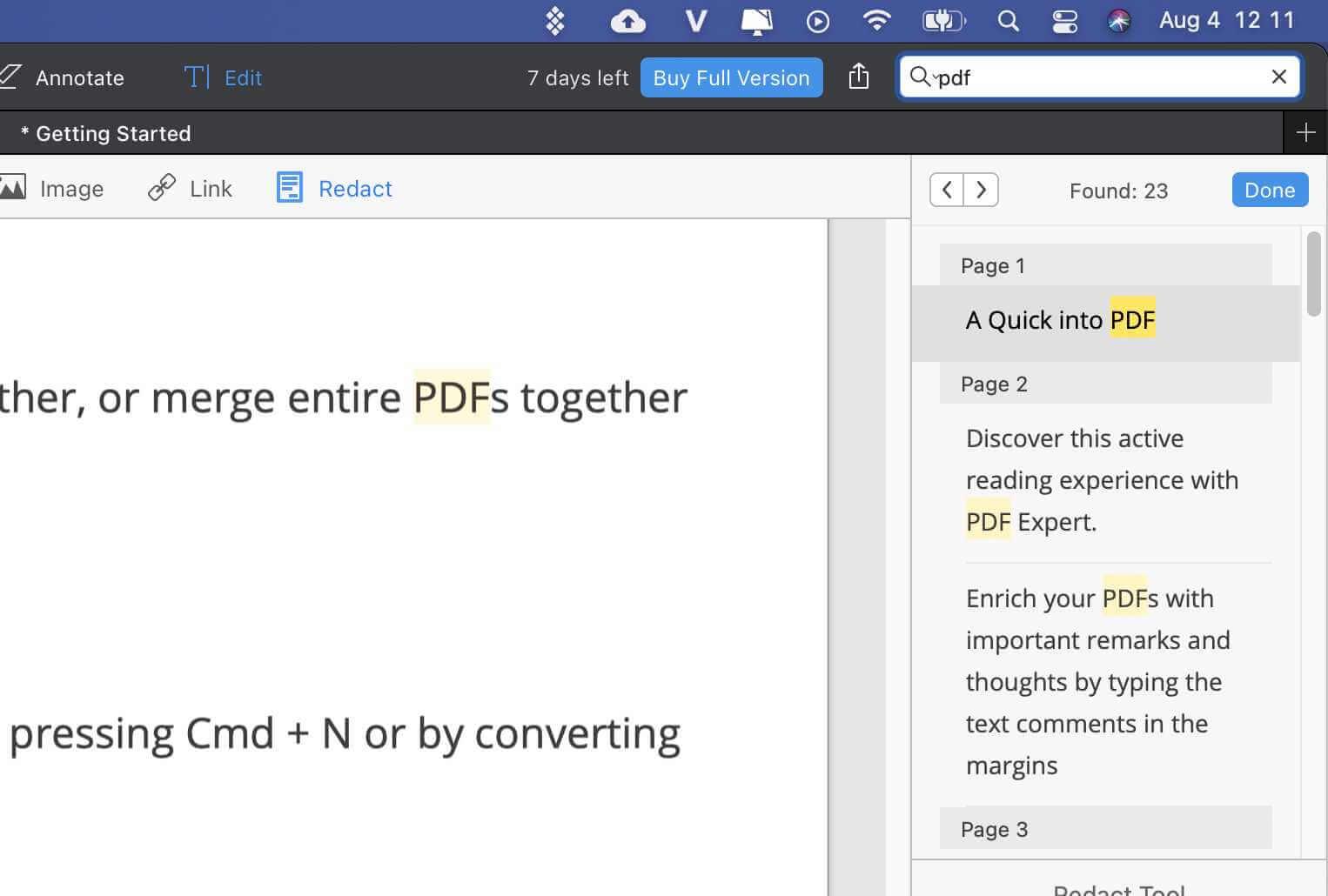 pdf expert search