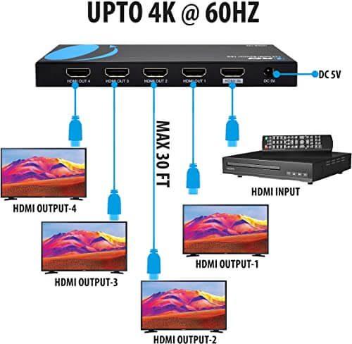 Orei UltraHD 4K @ 60 Hz 1 X 4 HDMI Splitter 1 in 4 Out 4 Port 4: 8-Bit - HDMI 2.0, HDCP 2.0